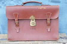 Vintage Leather Brown Document Satchel Briefcase Attache Laptop Case 70s J.A.N