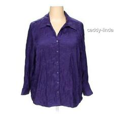 NWT NEW MAGGIE BARNES 1X CATHERINES PURPLE SATIN POLY BLOUSE TOP EMBROIDERED BIN