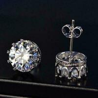 4Ct Round Diamond Push Back Solitaire Stud Earrings 14K White Gold Finish