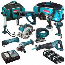 MAKITA 18V LI-ION 9 PIECE KIT WITH 3 X 5.0AH BATTERIES AND 2 X TOOL BAGS