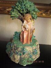 1998 Fontanini Cherub Angel in Garden holding Lamb Music Box #672
