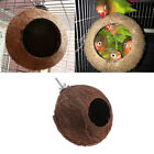Bird Parrot Finch Nest Natural Coconut Shell Hanging Chain Cage Toys Swing House