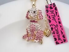 Betsey Johnson cute inlaid Crystal pink dog pendant necklace # A