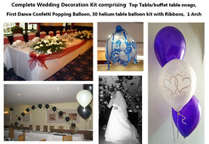 WEDDING DECORATION KIT : Popping & Table Balloons, Top Table Swags, Balloon Arch