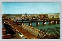 Des Moines IA, Bridges, Riverfront, Chrome Iowa Postcard