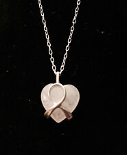ROSE QUARTZ and .925 Sterling Silver Heart Pendant CANCER AWARENESS Necklace 18""