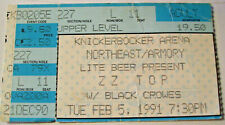 Zz Top & The Black Crows Knickerbocker Arena Concert Ticket Stub 2/5/1991