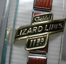 Nos Antique Speidel 11 mm Lizard Tan 10k White Gold Gf Watch Band Ring Ends #841