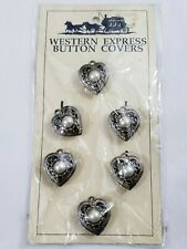 Vintage Button Covers Western Filigree Heart Shaped Faux Pearl Silver Tone 6 PC