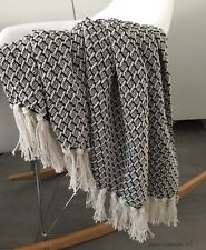 Bettüberwurf Decke 100% Baumwolle Webmuster Quattefoil Plaid Ouilt Sofa Bett