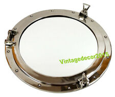 XL Ships Porthole Mirror Aluminum Chrome Finish Round Nautical Wall Decor
