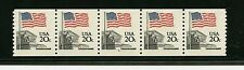 U. S. #1895a PLATE #6, (US303) Flag strip of 5, P.O. Fresh, MNH, VF, CV$110.00