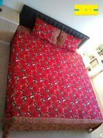 Soft Floral 3 Pcs Pakistani Bed Sheet Set - Double, Queen & King Sized