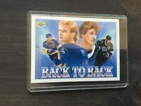 WAYNE GRETZKY & BRETT HULL 1992 UPPER DECK HOCKEY > BACK TO BACK ART CARD 423 A1