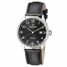 Grovana Men's Black Dial Black Leather Strap Automatic Date Watch 1190.2537