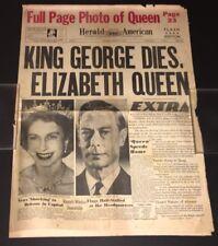 KING GEORGE DIES, ELIZABETH QUEEN + BONUS 1881 LA DAILY TIMES REPRO!