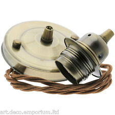 E27 New Antiqued Brass Effect Pendant Kit with Bronze Braided Flex