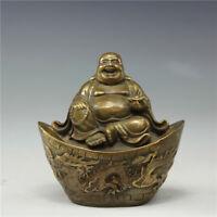 China antique Qing XuanDe copper Loong Phoenix Maitreya Buddha Figurines Statues