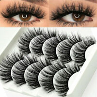 UK 5 Pairs 3D Fake Eyelashes Long Thick Natural False Eye Lashes Set Mink Makeup