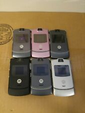 6 Motorola V3m Razr cell Phones with back cover and Batterys no charger