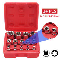 14PCS Star Driver Socket Set Hex Torx Torq Torque E4 to E24 Bits External Female