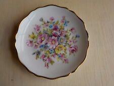 """imperial limoges france porcelain saucer pink flowers gold rimmed 4 1/2""""  MINT"""