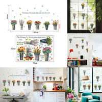 Pot Plant Bonsai Flower & Butterfly Wall Stickers Room Window Decal Art Decor
