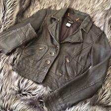Miss Sixty Brown Distressed Genuine Leather Wire Moto Jacket Sz XS