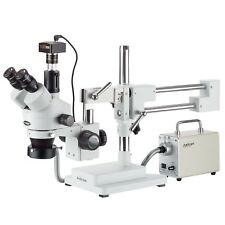 AmScope 3.5X-90X Zoom Stereo Trinocular Microscope + LED Fiber Light + 1.3MP Cam