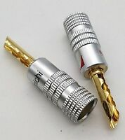 2 X 24K Gold Plated SAW TOOTH Nakamichi Speaker banana Audio Jack connector CBBB