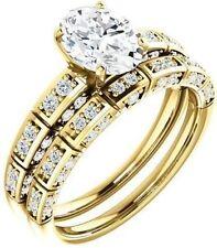 1.37 carat total Oval & Round Diamond Engagement Wedding 14k Yellow Gold G Si1