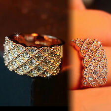 18K ROSE GOLD GF CRYSTAL BAND ETERNITY ANNIVERSARY WEDDING COCKTAIL RING JEWELRY