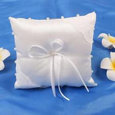 Trendy Small Satin Bowknot Wedding Party Pocket Ring Pillow Pearl Cushion New