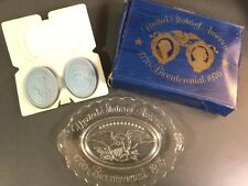 Avon vintage Bicentennial Plate 1776-1976 clear glass w/soaps Nib Collectible