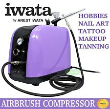 Airbrush Compressor 1/6hp Use With Dual Action Spray Gun Kit Art Paint Set Iwata