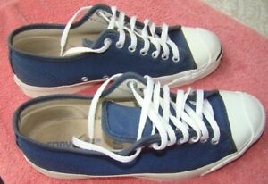 1980s Jack Purcell Converse BLUE CANVAS Tennis Shoes Made In USA SZ 10 NICE!