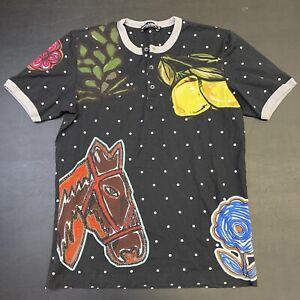 Vintage Womens Dolce And Gabbana Shirt Top Sz 48 M/L Fashion Designer Graphic