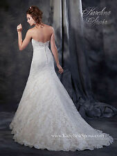 NEW Karelina Sposa Marys Bridal Gown C8040 Trumpet Lace Wedding Dress Ivory Sz14