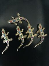 Vintage Style Reproduction Goldtone Lizard Brooch with Colored Rhinestones, 3�