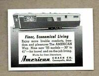 1955 Print Ad American Coach Travel Trailers Cassopolis,MI