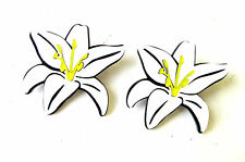 Large White Black Lily Flower Earrings Rockabilly 1950s Stud Floral Summer 1623