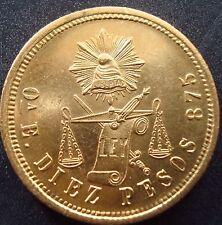 Mexico RARE $10 Pesos Gold Coin Guaranteed 100% Authentic ,1871