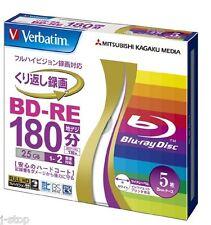 5 Verbatim BD-RE Bluray DVD 25GB Single Layer 2x Printable Bluray Blank Media