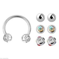 "Sets of 4mm Balls Steel Body Jewelr Horseshoe Ear Eyebrow Lip 16 Gauge 3/8"" w/4"