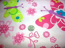 TEXTURED BUTTERFLIES PINK FLANNEL FABRIC 100% COTTON SEWING SOLD BY THE YARD BTY