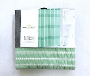 Threshold Seersucker Green Pleated Cotton Shower Curtain
