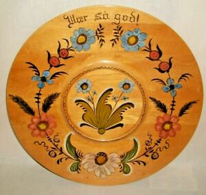 VINTAGE NORWEGIAN ROSEMALING 16 INCH WOOD CHARGER SIGNED C. REQUE