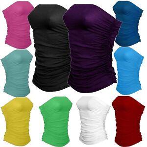 Womens Boob Tube Ladies Plain Ruched Vest Top Sleeveless Shirt Bandeau Strapless