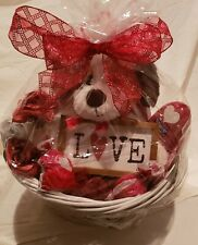 "VALENTINE'S DAY Bath Body 12"" Plush Puppy Candy Roses Softsoap Wicker Basket New"