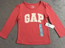 GAP CORAL COLOUR LONG SLEEVE TSHIRT WITH LOGO ON FRONT IN LIGHT PINK-AGE 2y BNWT